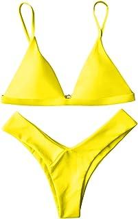 75aa0fefb1 ZAFUL Women Spaghetti Straps Soft Padded Thong Bikini Set High Cut Swimsuit