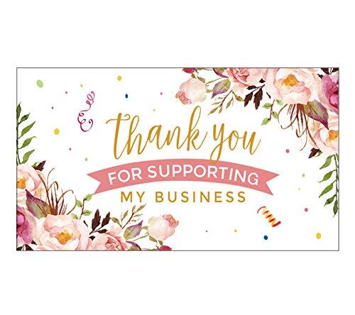 YKHENGTU Danke für die Unterstützung von kleinen Visitenkarten, 8,9 x 5,1 cm, 100 Dankeskarten für Online, Einzelhandel, handgemachte Waren, Kundenpaket-Einlagen und mehr