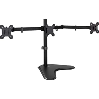 Mount-It! Triple Monitor Stand | 3 Monitor Stand Fits 19 20 21 22 23 24 27 Inch Computer Screens | Free Standing Base | Three Heavy Duty Full Motion Adjustable Arms | VESA Compatible