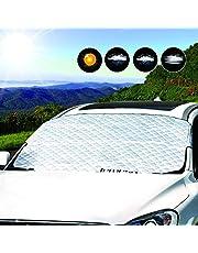 LEMESO 車フロントガラスカバー サンシェード 雪対策 凍結防止 四季用 遮光 落葉対策 防水素材 厚手SUV車 140 x 113cm