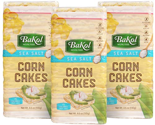 Bakol Corn Cakes with Sea Salt, 3 Pack, Gluten-Free, Non-GMO, Healthy Snacks for Adults and Kids, Kosher, and Vegan, Tasty Sugar-Free Alternative for Rice Cakes and Crackers, 27 Corn Thins per Pack