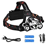 6000 Lumen High Power LED Headlamp by AIQI, Rechargeable 3 CREE XM-L T6