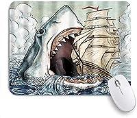 KAPANOU マウスパッド、ブルーホワイトオーシャンシャーク おしゃれ 耐久性が良い 滑り止めゴム底 ゲーミングなど適用 マウス 用ノートブックコンピュータマウスマット