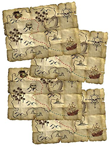 Folat Carte au Trésor Rouge Pirate-4 pièces, 07659