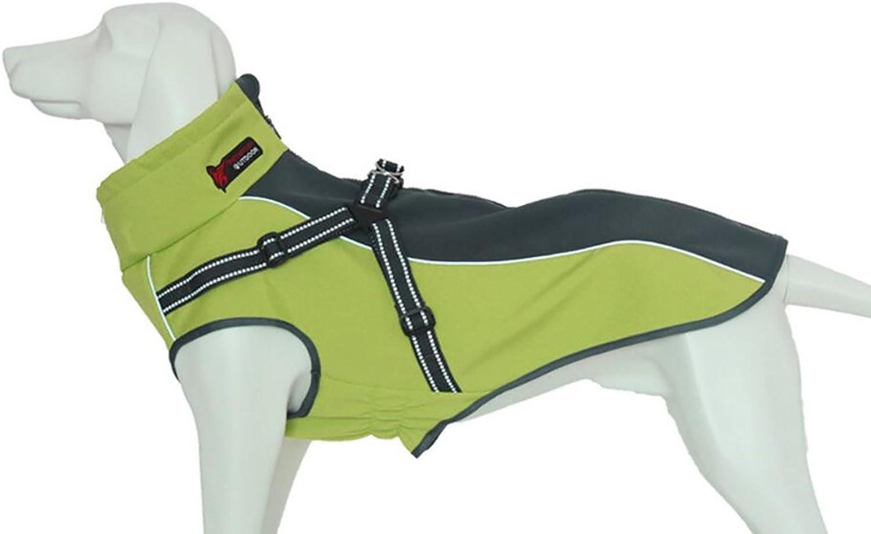 Xanday Dog Jacket con Harness, Windify Dog Vest con riflessi per cani medio grandi, caldo e caldo Dog Sport Vest, Dog Winter Coat, Warm Dog Apparel (Fluoreodor Green, S)