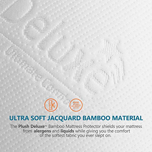 PlushDeluxe Premium Bamboo Mattress Protector – Waterproof, Hypoallergenic & Ultra Soft Breathable Bed Mattress Cover for Maximum Comfort & Protection - PVC, Phthalate (King Size)