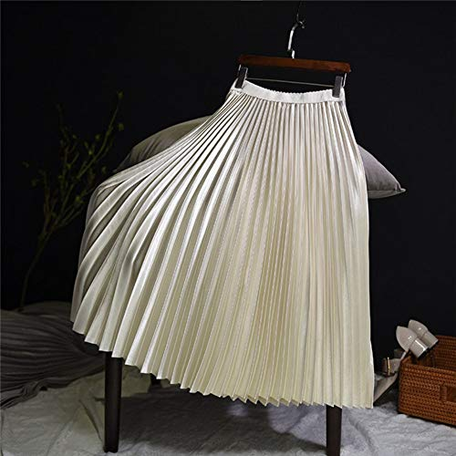 QZBTU rok voor dames, lange taille, hoge taille met rok metallic ballon