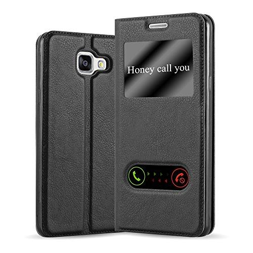 Cadorabo Funda Libro para Samsung Galaxy A5 2016 en Negro Cometa - Cubierta Proteccíon con Cierre Magnético, Función de Suporte y 2 Ventanas- Etui Case Cover Carcasa