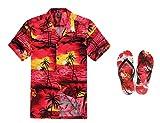 Hombres Que Coinciden con Hawaiian Luau Outfit Aloha Plus Size Camisa y Chanclas en Puesta de...