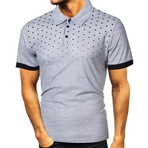 Crazboy Mode Herren Revers Gradient Beiläufig Slim Fit Polo Shirts Kurzarm Gedruckt T-Shirt Tops Bluse(4X-Large,Grau-B)