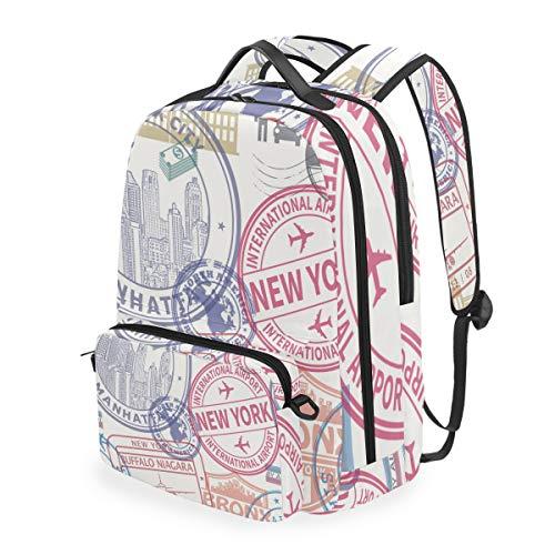 ELIENONO Nahtloses Muster-Visum-Stempel an,Schulrucksack mit abnehmbarem Federmäppchen, 2-in-1-Reiserucksack für 15-Zoll-Laptop für Mädchen oder Jungen