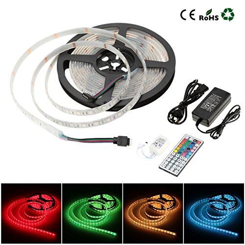Dersoy Tiras LED RGB 5M SMD 5050 Tiras LED de Luces 3600LM IP68 Impermeable Tira flexible multicolor +Mando a distancia +Fuente de alimentación +Receptor y conectores (LED que se pueden cortar)