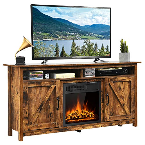 Tangkula Industrial Fireplace TV Stand for TVs Up to 65 Inches, Entertainment Center w/ 1500W Fireplace, Fireplace Media Console Table, Electric Heater w/ Adjustable Brightness & Remote (Brown)