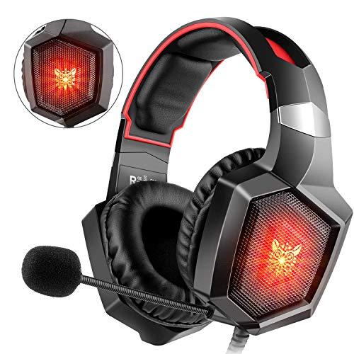 ONIKUMA LED lumi/ère Surround Sound Gaming Casque avec Microphone pour Ordinateur Portable//Mac OS//t/él/éphone Portable//Tablette Deruitu Casque de Gaming pour PC PS4 Xbox One etc.