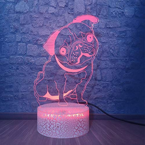 Only 1 Piece Lovely Dog 3D LED Night Light 7 Color Flashing Touch Remote USB Table Lamp Kids Bedroom Decor Bedside MoodCreative Gift