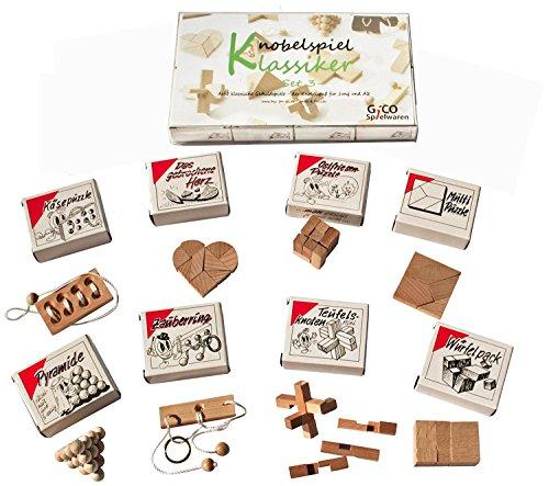 toys-for-all Knobelspiel Klassiker Set 3 - 8 Geschicklichkeitsspiele in Geschenkverpackung - incl. Lösung