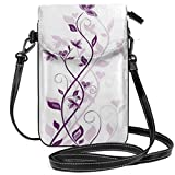 Jiger Women Small Cell Phone Purse Crossbody,Violet Tree Swirling Persian Lilac Blooms With Butterfly Ornamental Plant Graphic