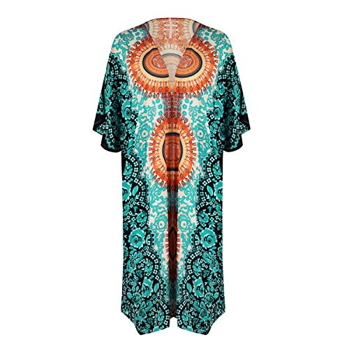 DOHAOOE 2020 Boho Beach Kimono Coverups for Women Loose Printed Beachwear Kimonos 006