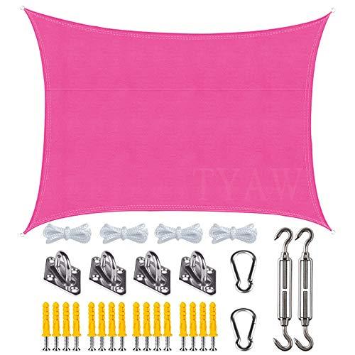 Vela de Sombra, Toldo Vela Rectangular con Kit de Montaje,Protección Rayos UV Impermeable,para Patio Exteriores Jardín- Rose Red|| 3x5m(9.8x16ft)