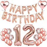 Feelairy 12 Cumpleaños Globos Decoración Oro Rosa, Happy Birthday Banner Globo Carta, Globos de Papel Aluminio Gigante Número 12 y Corazón Globos,12 Años Fiesta de Cumpleaños para Niñas y Niños