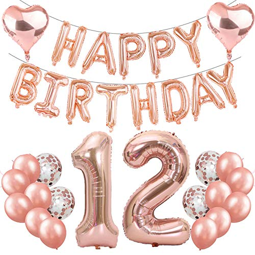 Feelairy 12th Birthday Decoration Rose Gold 12th Birthday Party Decoration Set, Giant Foil Balloons Number 12, Happy Birthday Garland Balloons, 12th Birthday Decoration for Girls Boys