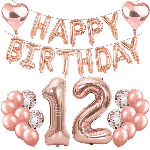 Feelairy 12. Geburtstag Dekoration Rosegold 12th Geburtstag Party Deko Set, Riesen Folienballons Zahl 12, Happy Birthday Girlande Ballons, 12. Geburtstagsdeko für Mädchen Jungen