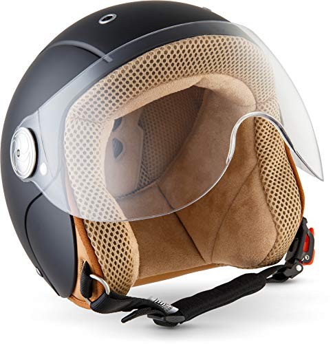 "Soxon® SK-55 ""Night"" · Kinder Jet-Helm · Motorrad-Helm Kinder-Helm Roller-Helm Kids Scooter-Helm Vespa Bobber Mofa-Helm Chopper Retro · ECE 22.05 Visier Schnellverschluss SlimShell Tasche XS (51-52cm)"