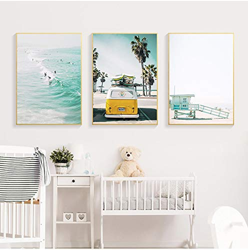 Surf Wall Art Canvas Painting Beach Posters Pictures Impresiones de tablas de surf Giclee Artwork Coastal Living Room Decoración de la pared 50x80cmx3pcs sin marco