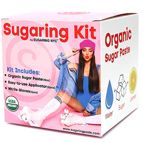 Sugaring Hair Removal Waxing Kit - Organic Sugaring Paste for Brazilian, Legs, Arms, Bikini, Back, Chest, Face