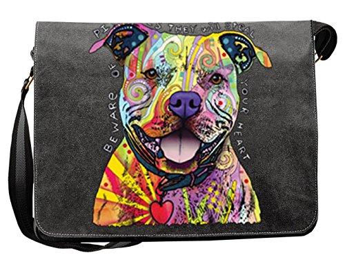 Lässige Umhängetasche mit einem Pitbull Hunde Motiv! Das Multitalent - Tasche für Schule, Beruf, Urlaub, Freizeit, Notebook, Tablet