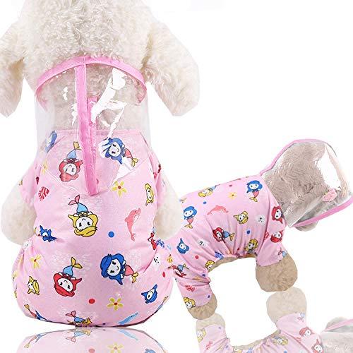 DULING Ropa para Perros, Chubasquero para Perros, Chubasquero para Mascotas, Adecuado para: Chubasquero Transparente para Perros pequeños, Chubasquero Rosa de Cuatro Patas, S