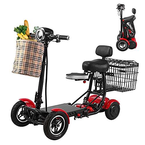 Scooters De Movilidad Plegables De 4 Ruedas, Scooter Ligero De 4 Ruedas Con Asiento, Scooter De Movilidad Plegable Portátil, Para Adultos, Ancianos, Discapacitados, Viajes Al Aire Libre,Rojo,15.6Ah