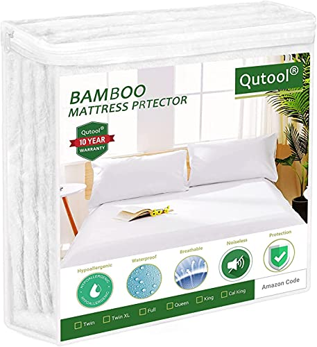 """Cooling Mattress Protector Waterproof Mattress Cover Queen Size Mattress Protector Bamboo Mattress Pad Cover Bed Cover Fitted 8""""-21"""" Deep Pocket Breathable, Noiseless Vinyl-Free for Pets Kids Adults"""