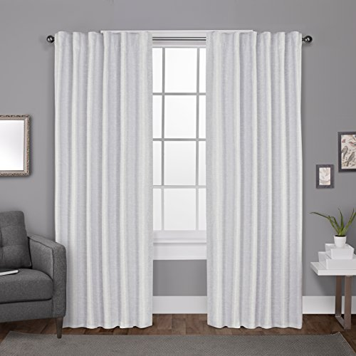 Exclusive Home Curtains Zeus Solid Textured Jacquard Blackout Window Curtain Panel Pair with Back Tab Top, 52x108, Winter White, 2 Count