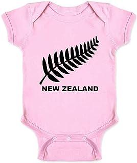 New Zealand Retro Soccer Rugby Kiwi Fern Crest Infant Baby Boy Girl Bodysuit
