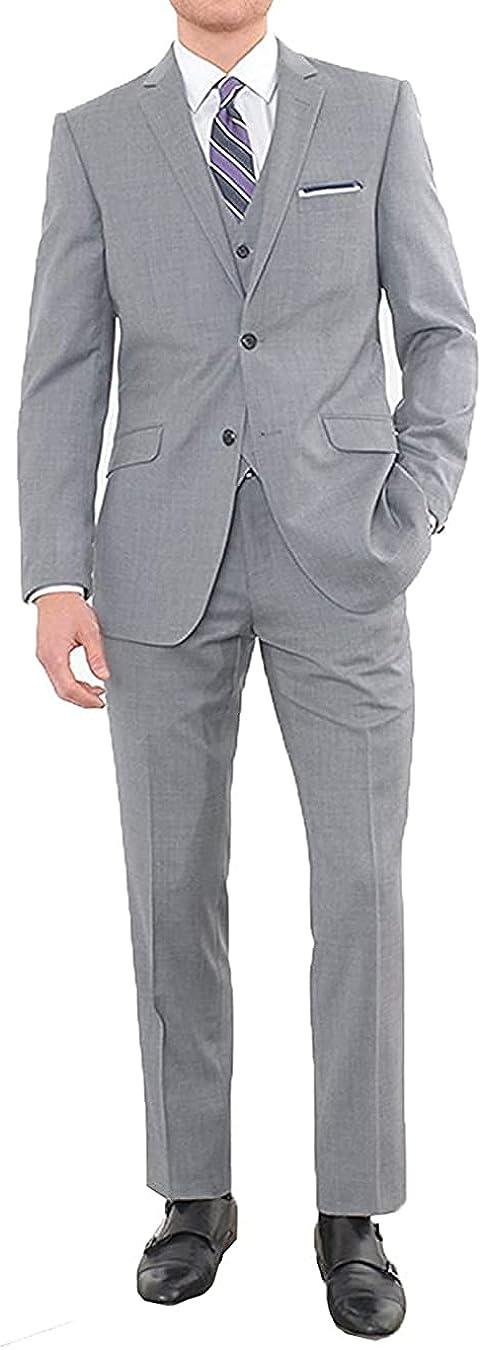 Men's 3 Piece Business Suit Slim Fit Suits Tuxedo Notch Lapel Blazer Jacket Vest Pants