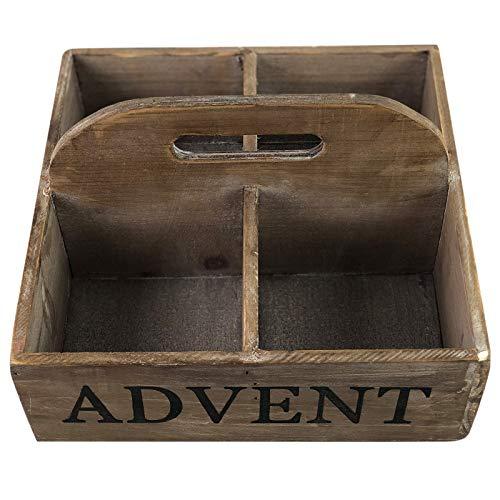 PARTS4LIVING Antikholz Adventskiste mit Griff Holzkiste mit Aufdruck Weihnachtsdeko quadratisch Cappucino 25 x 25 x 15 cm