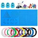3D Pen Mat for Kids, 16.8 x 7.9 Inches Large Silicone 3D Printing Pen Mat, Foldable 3D Basic Shape Template Printing Pad with Finger Protector and 164FT 3D Printing Filament for All 3D Printing Pens