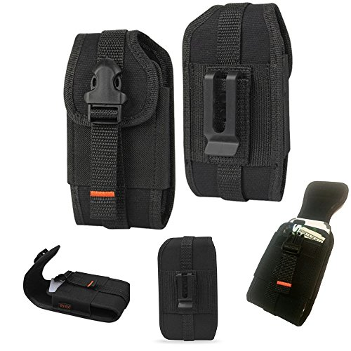 Rugged Vertical Heavy Duty Tactical Locking Wallet Case with Belt Loop fits CAT s60 Smartphone.