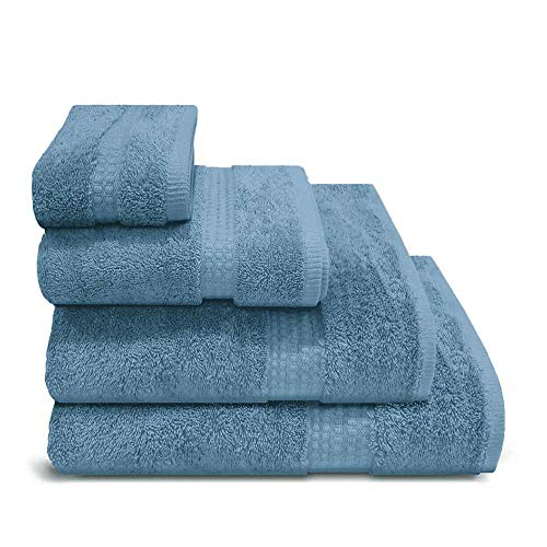PimpamTex – Juego de Toallas Premium 700 Gramos de Secado Rápido para Baño, 100% Algodón, Pack Toallas de Baño + Toallas de Mano – (Azul Azafata, 2 de 70x140 cm + 4 de 50x100 cm)