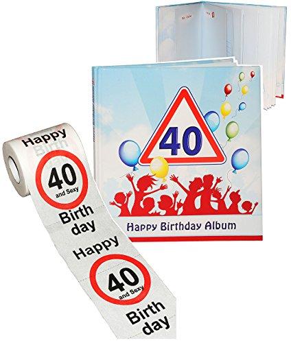 alles-meine.de GmbH 2 TLG. Set _ Geburtstag -  40 Jahre - Happy Birthday  - Erinnerungsalbum / Fotoalbum + Toilettenpapier Rolle - Gebunden zum Einkleben & Eintragen - Album & ..