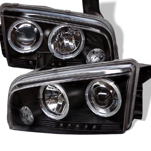 LED halo Headlights for Dodge Charger 06-10 - Black/Clear Lens