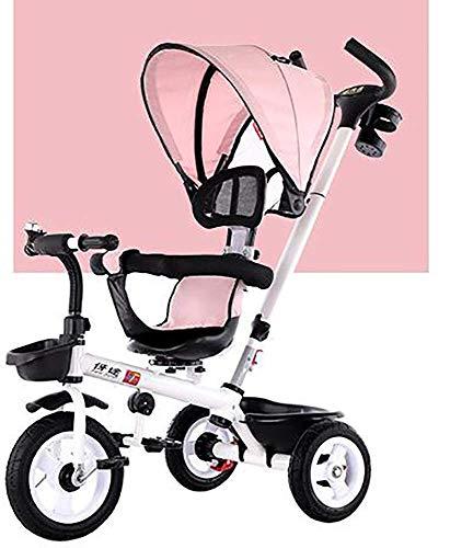 CAIMEI Triciclo para Niños, 2 Años Pabellón Desmontable Mango de Empuje Asiento Giratorio Bicicleta de Aprendizaje Peso Máximo 30 (Color: Rosa),Rosado