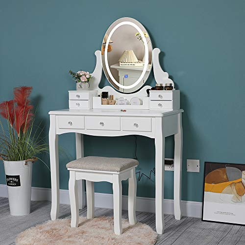 Iwell Vanity Table Set with 3 Colors Lighted Mirror, Makeup Vanity Dressing Table with 7 Drawers & Padded Cushioned Stool, Gift for Girls, Women, Bedroom, Bathroom, White