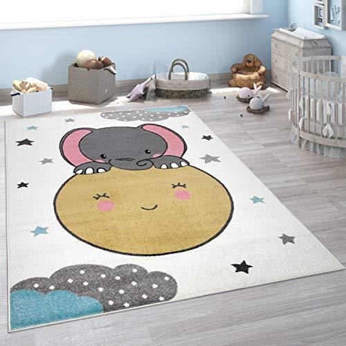 Alfombra Pelo Corto Habitación Infantil, Luna, Elefante, Diseño Infantil, Beige, tamaño:133x190 cm