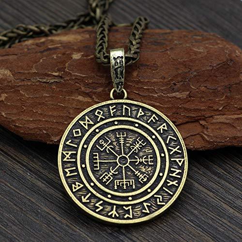CNZXCO Wikinger Armreif Herren, Wikinger Schild, Wikinger Axt, Viking Odin-Logo-Kompass, Lunavin-Vintage-Halskette, Männlicher Anhänger, Amulett (Color : Brass)