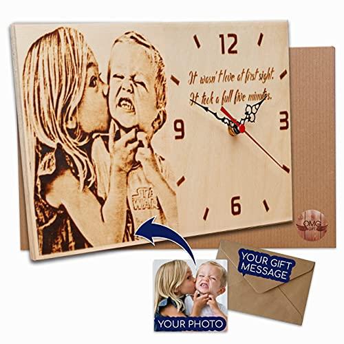 Silent Non-Ticking Wood Burned Desk Photo Clock