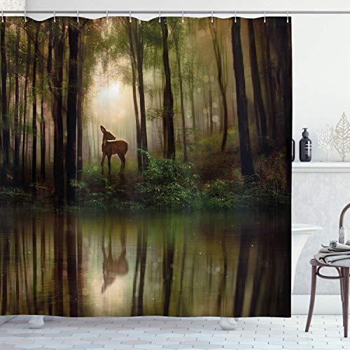 CICIDI Nature Duschvorhang, Baby-Reh im Wald mit Reflexion auf See Nebel Wald Grafik Stoff Bad 183 x 183 cm