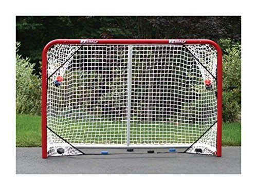 EZGoal 67109 Monster Steel Tube Heavy-Duty Official Regulation Folding Metal Hockey Goal Net, 6 x 4 - Feet, Red