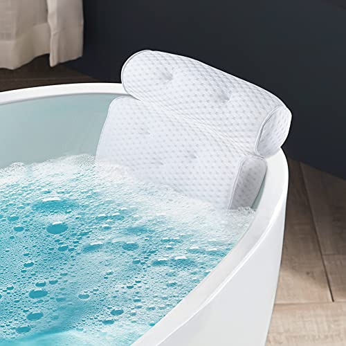 IPOW Cuscino per Vasca da Bagno, Cuscino Poggiatesta Vasca con 6 Ventose Antiscivolo, Cuscino da Bagno 4D Air Mesh Supporto per Testa Collo e Spalle, Bath Pillow per Vasca da Bagno Spa